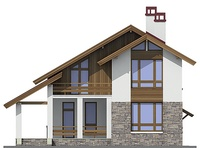 Изображение фасада 1  Проект коттеджа 55-12