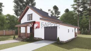 Проект дома с мансардой 8,6x12 метров, общей площадью 154 м2, из газобетона, c террасой, гаражом