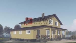 Проект дома с гаражом и террасой 14x13 метров, общей площадью 203м2, из газобетона, с облицовкой кирпичем