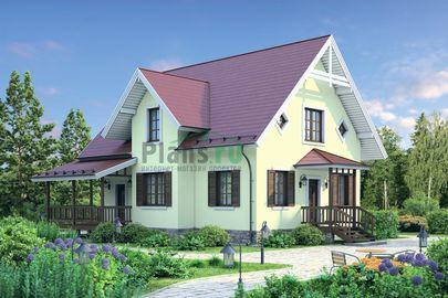 Проект дома с мансардой 10x10 метров, общей площадью 127 м2, из газобетона (пеноблоков), c террасой и котельной