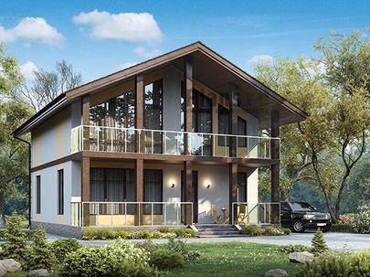 Проект дома с мансардой 10x10 метров, общей площадью 133 м2, из газобетона (пеноблоков), c террасой, котельной и кухней-столовой