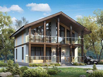 Проект дома с мансардой 10x10 метров, общей площадью 133 м2, из кирпича, c террасой, котельной и кухней-столовой