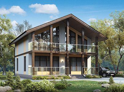 Проект дома с мансардой 10x10 метров, общей площадью 134 м2, из газобетона (пеноблоков), c террасой, котельной и кухней-столовой