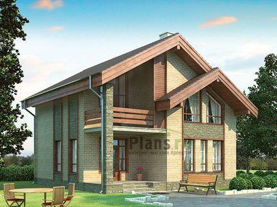 Проект дома с мансардой 10x10 метров, общей площадью 137 м2, из газобетона (пеноблоков), c террасой и котельной