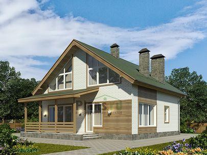 Проект дома с мансардой 10x10 метров, общей площадью 139 м2, из керамических блоков, со вторым светом, c террасой, котельной и кухней-столовой