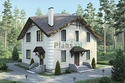 Проект дома с мансардой 10x10 метров, общей площадью 146 м2, из кирпича, c котельной и кухней-столовой