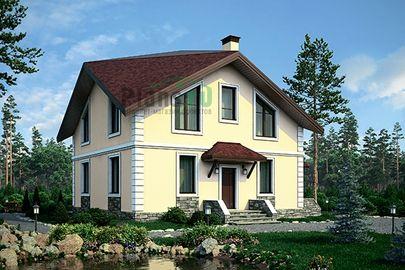 Проект дома с мансардой 10x10 метров, общей площадью 146 м2, из кирпича, c котельной