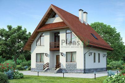 Проект дома с мансардой 10x10 метров, общей площадью 150 м2, из газобетона (пеноблоков), c котельной и кухней-столовой