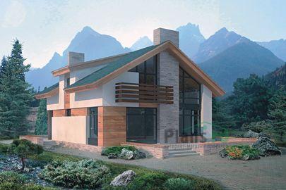 Проект дома с мансардой 10x10 метров, общей площадью 159 м2, из газобетона (пеноблоков), со вторым светом, c террасой, котельной и кухней-столовой