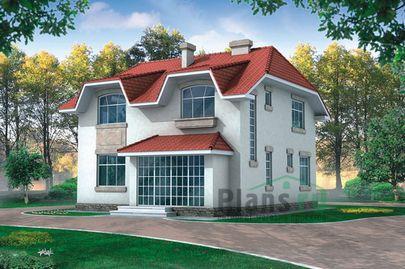 Проект дома с мансардой 10x10 метров, общей площадью 160 м2, из кирпича, c котельной и кухней-столовой