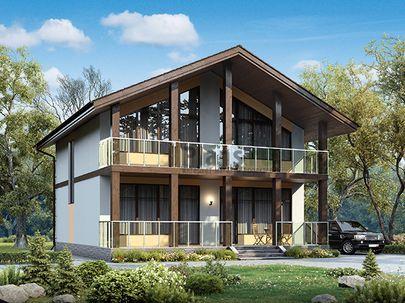 Проект дома с мансардой 10x10 метров, общей площадью 161 м2, из газобетона (пеноблоков), c террасой, котельной и кухней-столовой