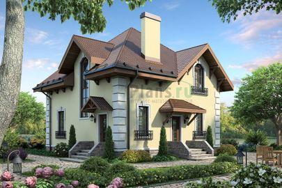 Проект дома с мансардой 10x10 метров, общей площадью 162 м2, из газобетона (пеноблоков), c кухней-столовой