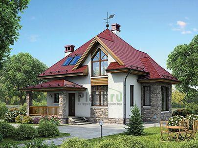Проект дома с мансардой 10x11 метров, общей площадью 113 м2, из газобетона (пеноблоков), c террасой, котельной и кухней-столовой