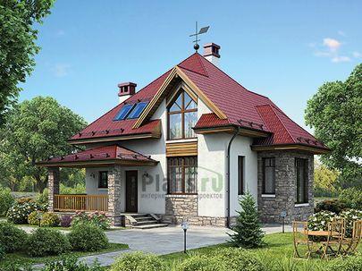 Проект дома с мансардой 10x11 метров, общей площадью 113 м2, из кирпича, c террасой, котельной и кухней-столовой