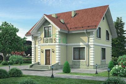 Проект дома с мансардой 10x11 метров, общей площадью 132 м2, из кирпича, c котельной и кухней-столовой