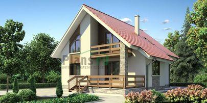 Проект дома с мансардой 10x11 метров, общей площадью 147 м2, из кирпича, c террасой, котельной и кухней-столовой