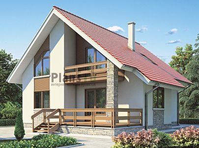Проект дома с мансардой 10x11 метров, общей площадью 148 м2, из газобетона (пеноблоков), c террасой, котельной и кухней-столовой