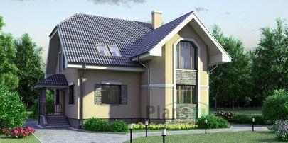Проект дома с мансардой 10x12 метров, общей площадью 163 м2, из керамических блоков, c котельной и кухней-столовой