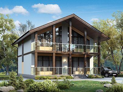 Проект дома с мансардой 10x12 метров, общей площадью 163 м2, из кирпича, c террасой, котельной и кухней-столовой