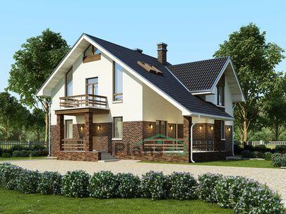 Проект дома с мансардой 10x12 метров, общей площадью 165 м2, из газобетона (пеноблоков), c террасой, котельной и кухней-столовой