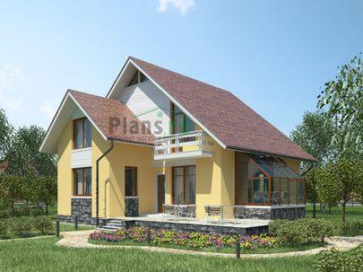 Проект дома с мансардой 10x12 метров, общей площадью 165 м2, из кирпича, c зимним садом, террасой, котельной и кухней-столовой