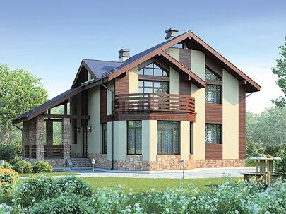 Проект дома с мансардой 10x12 метров, общей площадью 173 м2, из керамических блоков, c террасой, котельной и кухней-столовой