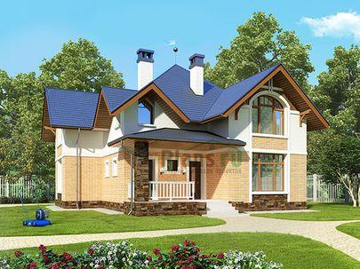 Проект дома с мансардой 10x12 метров, общей площадью 178 м2, из газобетона (пеноблоков), c террасой, котельной и кухней-столовой