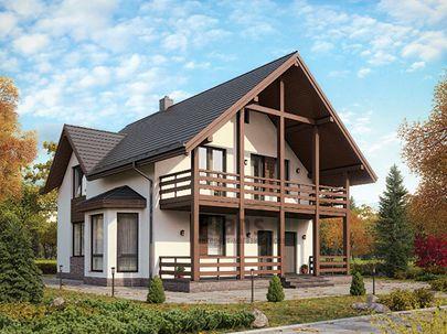 Проект дома с мансардой 10x13 метров, общей площадью 171 м2, из газобетона (пеноблоков), c террасой, котельной и кухней-столовой
