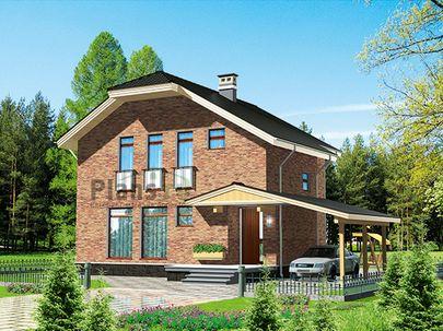 Проект дома с мансардой 10x14 метров, общей площадью 130 м2, из кирпича, c террасой и кухней-столовой
