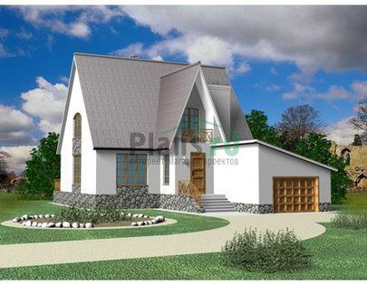 Проект дома с мансардой 10x16 метров, общей площадью 155 м2, из газобетона (пеноблоков), c гаражом, котельной и кухней-столовой