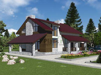 Проект дома с мансардой 10x19 метров, общей площадью 217 м2, из газобетона (пеноблоков), c гаражом, террасой, котельной и кухней-столовой