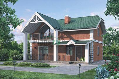 Проект дома с мансардой 10x6 метров, общей площадью 115 м2, из кирпича, c террасой и кухней-столовой