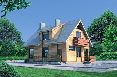 Проект дома с мансардой 10x7 метров, общей площадью 123 м2, из газобетона (пеноблоков), c террасой и котельной