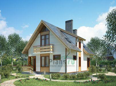 Проект дома с мансардой 10x7 метров, общей площадью 123 м2, из кирпича, c террасой и котельной