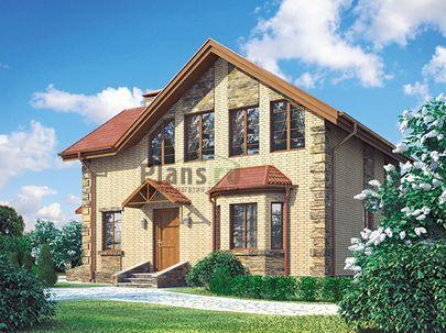 Проект дома с мансардой 10x7 метров, общей площадью 124 м2, из газобетона (пеноблоков), c котельной и кухней-столовой