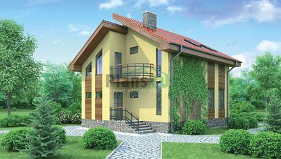 Проект дома с мансардой 10x8 метров, общей площадью 100 м2, из газобетона (пеноблоков), c котельной
