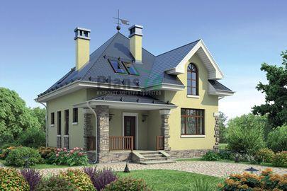 Проект дома с мансардой 10x8 метров, общей площадью 122 м2, из газобетона (пеноблоков), c террасой и котельной