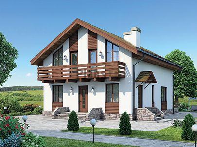 Проект дома с мансардой 10x8 метров, общей площадью 123 м2, из газобетона (пеноблоков), c террасой, котельной и кухней-столовой
