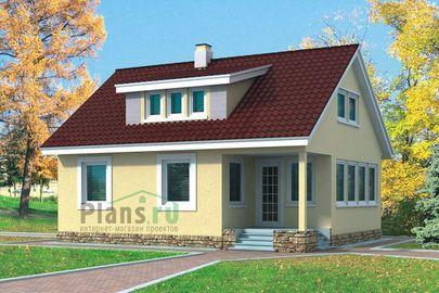Проект дома с мансардой 10x8 метров, общей площадью 123 м2, каркасного типа, c кухней-столовой