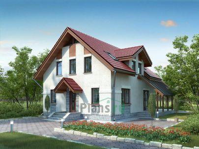 Проект дома с мансардой 10x8 метров, общей площадью 125 м2, из газобетона (пеноблоков), c террасой и котельной