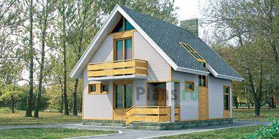 Проект дома с мансардой 10x8 метров, общей площадью 129 м2, из газобетона (пеноблоков), c террасой и котельной