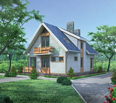 Проект дома с мансардой 10x8 метров, общей площадью 129 м2, из газобетона (пеноблоков), c террасой, котельной и кухней-столовой