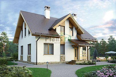 Проект дома с мансардой 10x8 метров, общей площадью 130 м2, из кирпича, c котельной