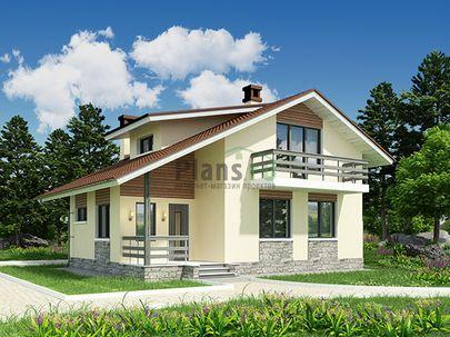 Проект дома с мансардой 10x8 метров, общей площадью 96 м2, из газобетона (пеноблоков), c террасой, котельной и кухней-столовой