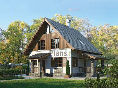 Проект дома с мансардой 10x8 метров, общей площадью 99 м2, из керамических блоков, c террасой, котельной и кухней-столовой