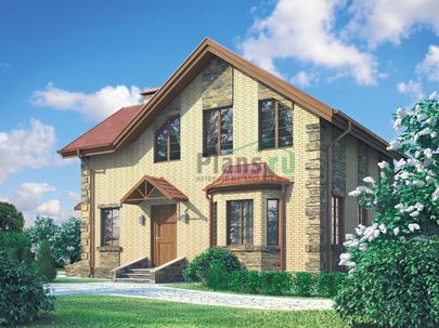 Проект дома с мансардой 10x9 метров, общей площадью 103 м2, из газобетона (пеноблоков), c котельной и кухней-столовой