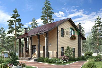 Проект дома с мансардой 10x9 метров, общей площадью 109 м2, из газобетона (пеноблоков), c террасой и котельной