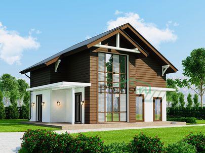 Проект дома с мансардой 10x9 метров, общей площадью 117 м2, из кирпича, c террасой, котельной и кухней-столовой