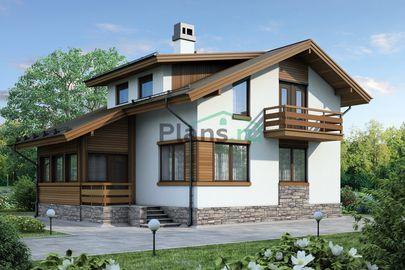 Проект дома с мансардой 10x9 метров, общей площадью 120 м2, из газобетона (пеноблоков), c террасой и котельной