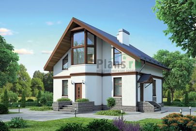 Проект дома с мансардой 10x9 метров, общей площадью 122 м2, из газобетона (пеноблоков), c котельной, лоджией и кухней-столовой